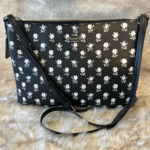 COACH Leather Crossbody Black with White Roses.
